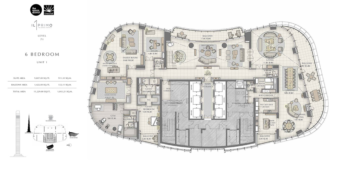 Emaar IL Primo Apartments At The Opera District - Floor Plans